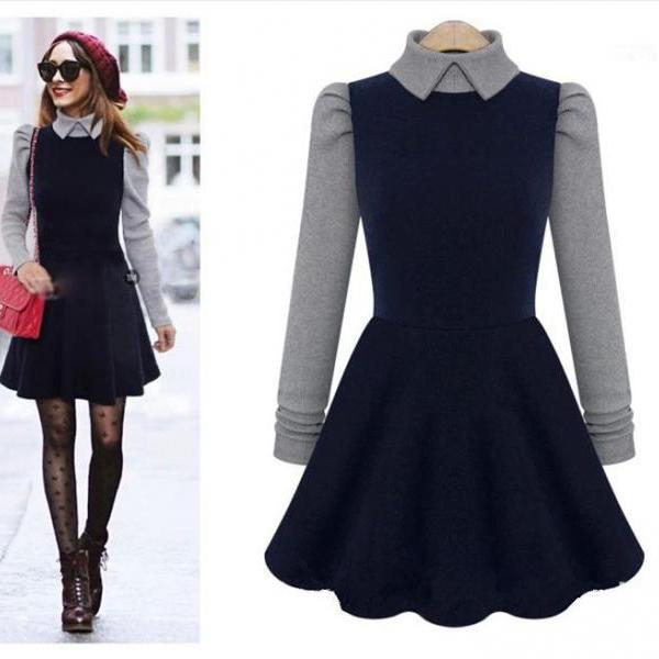 Winter Blue Color Women Fashion Stitching Knitted High Collar Long Sleeve Dress