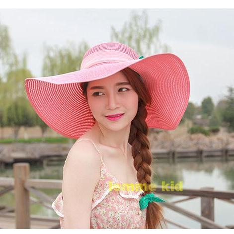 Sunscreen Ladies Women Beach Large brimmed Foldable Anti-UV Straw Hat Hats