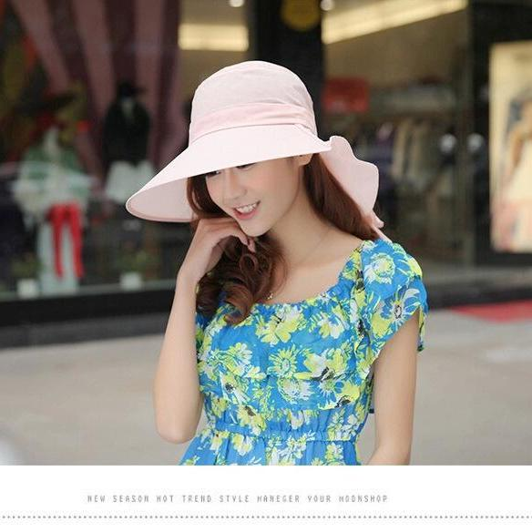 Summer Visor Ladies Female Large brimmed Anti UV Sun Sunhat Fold Cycle Beach Hat
