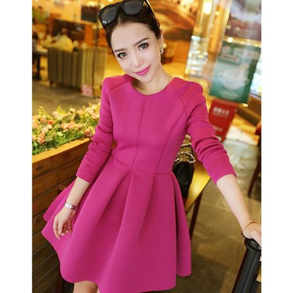 Fashion Women Winter Spring Elegant Korean Style Slim Fuchsia Ball Gown Dress