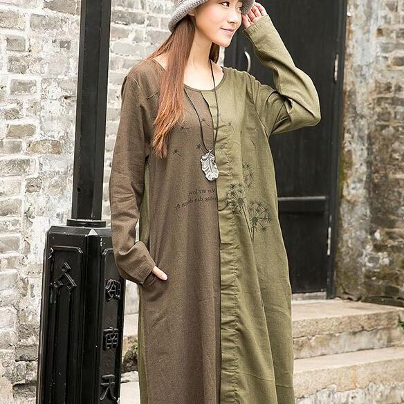 Summer Great Sale Embroidered Cotton Lagen look Long Sleeve Women Dress Dresses
