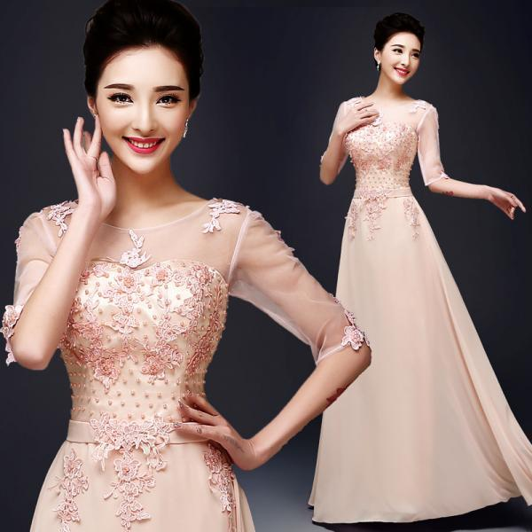 Hot Sale Formal Wedding Prom Party Bridesmaid Evening Ball Gown Dress Pink Color