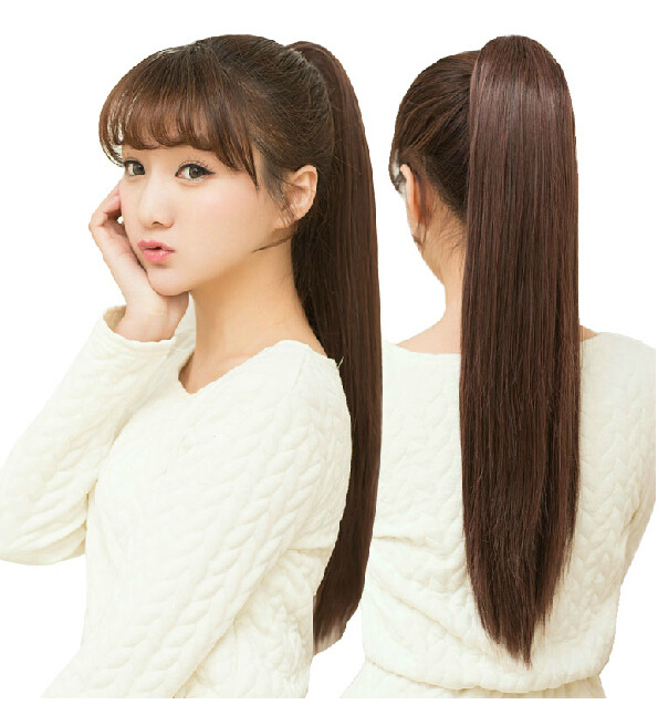 Cute Women Girls Synthetic Long Straight Ponytail Lovely